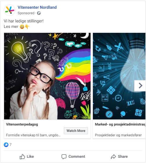 Facebook annonse Vitensenter Nordland