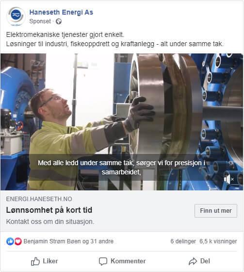 Haneseth Energi Facebook annonse